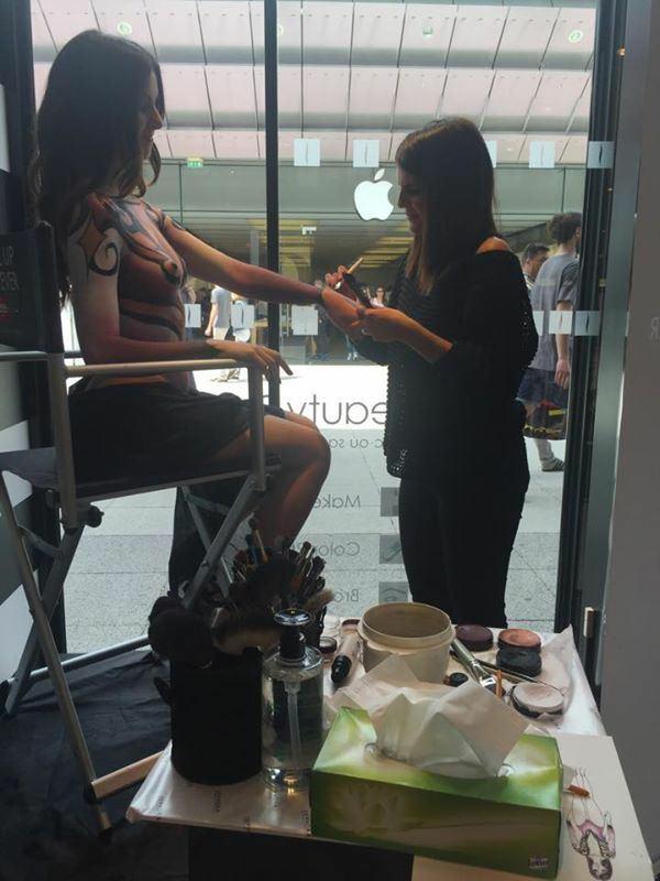 Bodypainting pour Make Up For Ever et Sephora