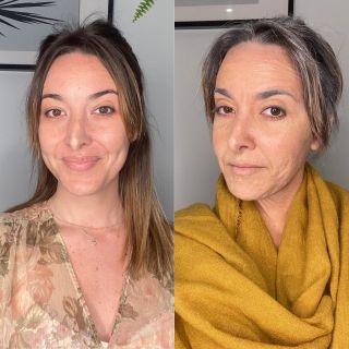 - TRAINING -  Avant/après de @n0une ❤️ lors d'un entraînement en vue d'un futur tournage.  #beforeafter #avantaprès #makeup #makeuptransformation #mup #mua #beauty #bff #smiling #training #maquillage #maquilleusemontpellier #latex #old #oldmakeup